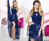 Нарядное женское платье материал гипюр и микромасло со съемной длинной шифоновой юбкой, темно синий цвет