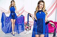 Нарядное женское платье материал гипюр и микромасло со съемной длинной шифоновой юбкой, цвет электрик