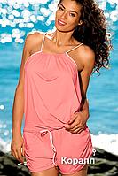 Красивый пляжный комбинезон Leila от TM Marko (Польша) Коралловый