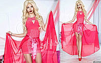 Нарядное женское платье материал гипюр и микромасло со съемной длинной шифоновой юбкой, цвет розовый