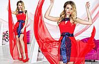 Нарядное женское платье материал гипюр и микромасло со съемной длинной шифоновой юбкой, цвет красный