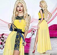 Нарядное женское платье материал гипюр и микромасло со съемной длинной шифоновой юбкой, цвет желтый