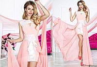 Нарядное женское платье материал гипюр и микромасло со съемной длинной шифоновой юбкой, цвет пудра