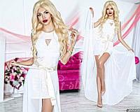 Нарядное женское платье материал гипюр и микромасло со съемной длинной шифоновой юбкой, цвет белый