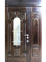 Полуторные двери для улицы (массив+ковка)  модель Русь