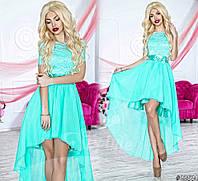 Нарядное женское платье с асимметричной шифоновой юбкой, верх красивый гипюр. Цвет мятный