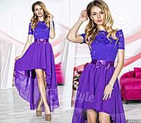 Нарядное женское платье с асимметричной шифоновой юбкой, верх красивый гипюр. Цвет фиолетовый