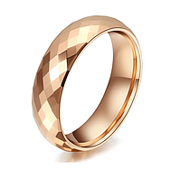 Кольцо из карбида вольфрама покрытием розовым золотом с гранями