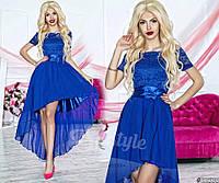 Нарядное женское платье с асимметричной шифоновой юбкой, верх красивый гипюр. Цвет электрик