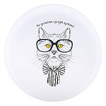 """Тарелка с котом """"Не делайте из еды культа!"""""""