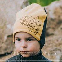 Двусторонняя шапка для мальчика Юджин серо-горчичная Dembohouse р.46,48,50