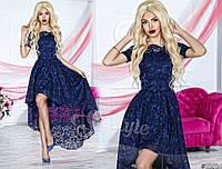 Нарядное женское платье с асимметричной юбкой, верх и юбка красивый гипюр. Цвет темно синий