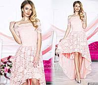 Нарядное женское платье с асимметричной юбкой, верх и юбка красивый гипюр. Цвет нежно розовый