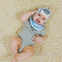 "Набор для младенца шапочка и нагрудник ""Адвэн"" голубого цвета DemboHouse р.40,42,44"