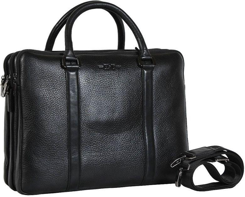 042158f7739b Кожаная деловая сумка на три отделения HT 01373-1 черная — только ...