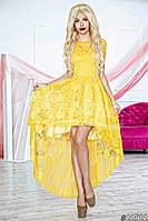 Нарядное женское платье с асимметричной юбкой, верх и юбка красивый гипюр. Цвет желтый
