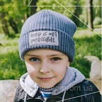 """Шапка спортивная для мальчика """"Самил"""" синий DemboHouse р.50,52,54"""