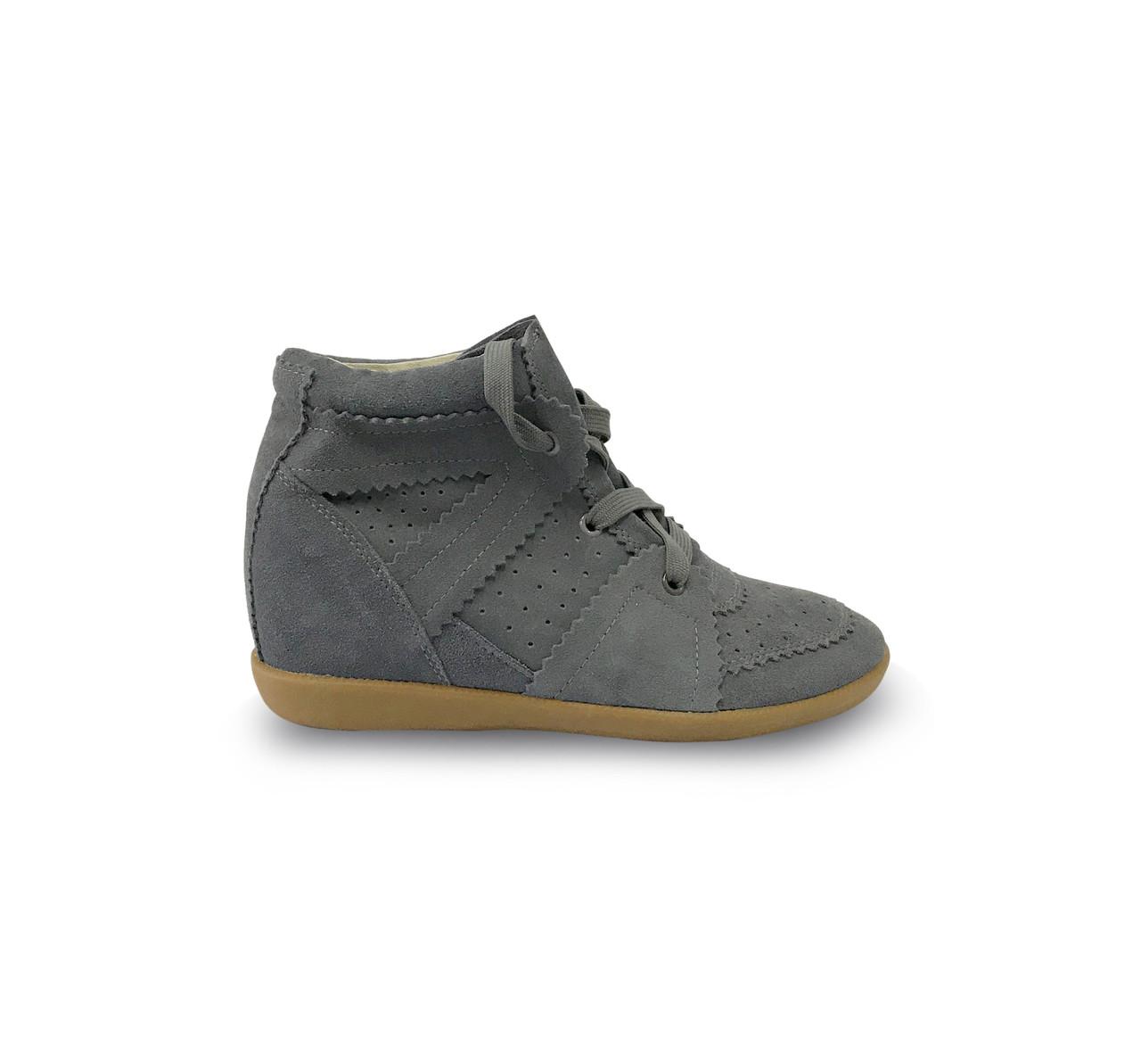 Сникеры женские Изабель Маран Bobby Sneakers на шнурках, серые замшевые