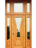 Полуторные двери в коттедж (массив+стеклопакет)  модель Лилия