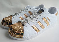 Кроссовки adidas superstar женские с золотим носком(MT)