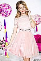 Нарядное женское короткое платье материал верха гипюр, юбка атлас и легкий фатин. Цвет нежно розовый