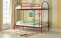 Кровать металлическая Сеона двухъярусная 90 (Мадера / Madera) 910х2010х1750 мм красный лак