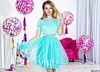 Нарядное женское короткое платье материал верха гипюр, юбка атлас и легкий фатин. Цвет мята