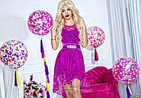Нарядное женское короткое платье материал гипюр, с красивым атласным пояском. Цвет фиолетовый