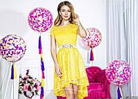 Нарядное женское короткое платье материал гипюр, с красивым атласным пояском. Цвет желтый