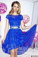 Нарядное женское короткое платье материал гипюр, с красивым атласным пояском. Цвет электрик