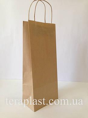 Бумажные пакеты бурый крафт с ручками 190х110х380, фото 2