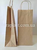Бумажные пакеты бурый крафт с ручками 190х110х380