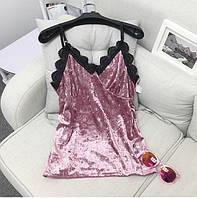 Майка велюровая плюшевая с кружевом розовая, фото 1