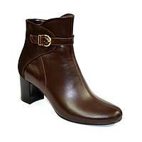 Женские коричневые демисезонные ботинки на невысоком каблуке. Натуральный замш и кожа.