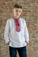Вышиванка с красно-черным орнаментом для мальчика 116