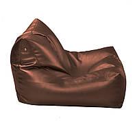 Кофейное бескаркасное кресло-лежак из кож зама Зевс