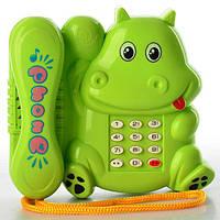 Телефон 550-3 (216шт) в виде бегемотика, муз, звук, свет, на бат-ке, в пакете, 13-12-6см
