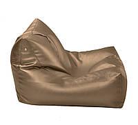 Коричневое бескаркасное кресло-лежак из кож зама Зевс