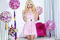 Нарядное женское короткое платье материал гипюр, с открытыми плечами. Цвет розовый