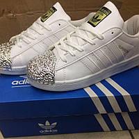 Кеды белые с серебряным носком Adidas