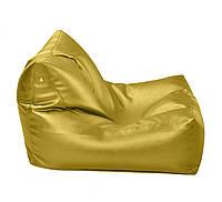 Желтое бескаркасное кресло-лежак из кож зама Зевс