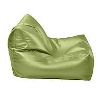Салатовое бескаркасное кресло-лежак из кож зама Зевс