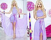 Нарядное женское платье с перфорацией в комплекте с длинной шифоновой юбкой (съемной). Цвет сиреневый