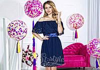 Нарядное короткое женское платье материал шифон с перфорацией, с атласным поясом. Цвет темно синий