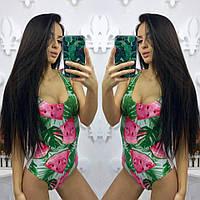Яркий стильный женский молодежный купальник-боди с принтом В20179
