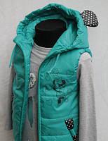 Демисезонная жилетка для девочки 5-10 лет Minnie зеленая