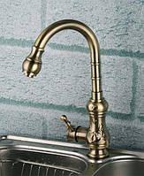 Высокий смеситель для кухни или умывальника под бронзу 0269c ( кухонный бронзовый кран)