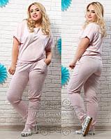 Модный женский летний розовый костюм с карманами. Арт-1239/37
