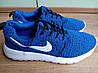 Кроссовки мужские Nike (найк) Roshe Run (рош раны) синие белая подошва 43,44 размер