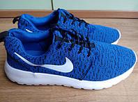 Кроссовки мужские Nike (найк) Roshe Run (рош раны) синие белая подошва 43,44 размер, фото 1